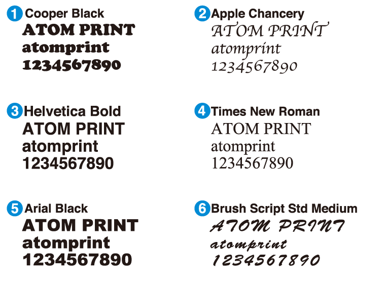 cooper black apple chancery Helvetica bold Times New Roman Arial Black Brush Script Std Medium