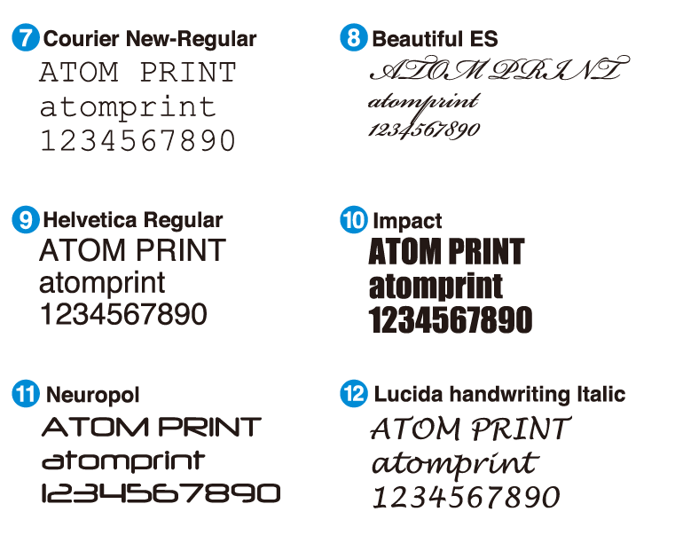 Courier New Regular Beautiful ES Helvetica Regular Impact Neuropol Lucida Handwriting Italic