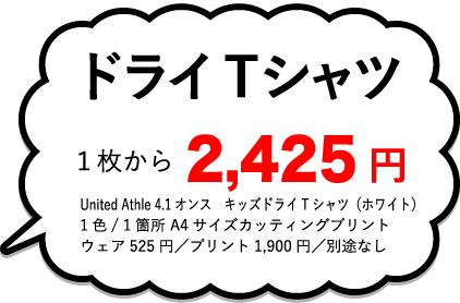 背番号入りドライTシャツ1枚から2425円