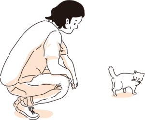 猫と人 Tシャツ:出会い