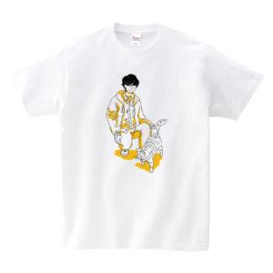 猫と人 Tシャツ:ふれ合い