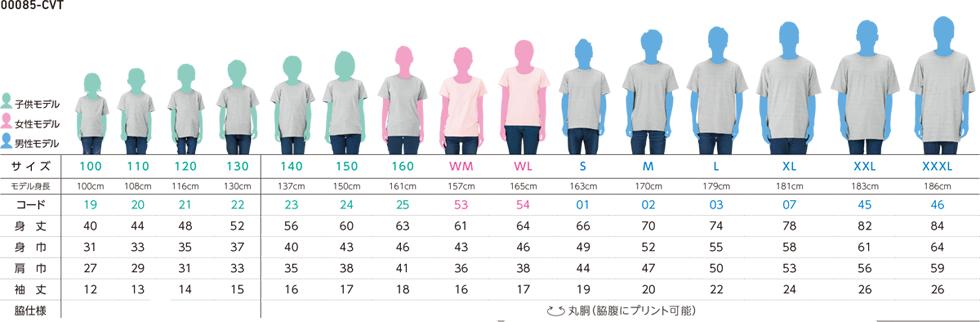 ヘビーウェイトTシャツサイズ別着用イメージ
